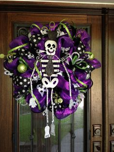 Halloween Mesh Wreath, skeleton on Etsy, $95.00