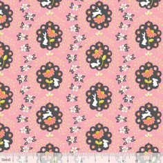 By Yard Blend Fabric Ana Davis Born Wild Bunny Patch Pink - rabbit floral Wild Bunny, Michael Miller Fabric, Patchwork Patterns, Patchwork Quilting, Woodland Theme, Pink Fabric, Cotton Quilts, Cotton Fabric, Fabric Design