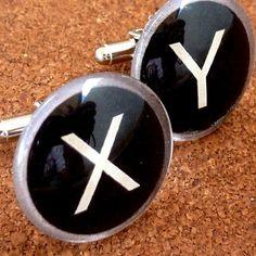 XY typewriter key letter style cufflinks.