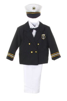 Baby-Boy-Toddler-Formal-Party-Captain-Sailor-Suit-Hat-Outfits-New-Born-7-Years
