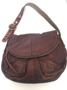 Lucky Brand Lamb Leather Bag Designer Fashion Brown Hip Boho Chic | eBay