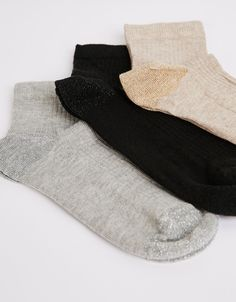 Set 3 calcetines canalé lurex punta y talón - Accesorios - Bershka España 6e