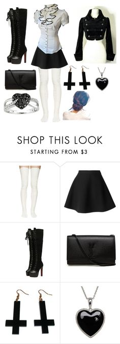 """""""Time for the night"""" by my-bullte-blood ❤ liked on Polyvore featuring Sacai Luck, MSGM, Masquerade, Yves Saint Laurent, Chicnova Fashion, Lord & Taylor and Ice"""