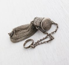 SALE - Antique Silver Plated Mesh Purse - Early 1900s Chain Mail Expansion Bag / Ring Finger Holder on Etsy, $95.00