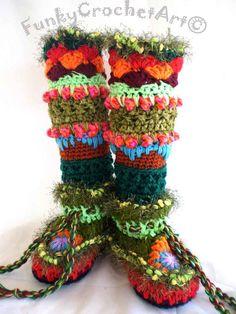 Crochet Slipper Boots/ Leg Warmer ComboUnique by FunkyCrochetArt, $50.00