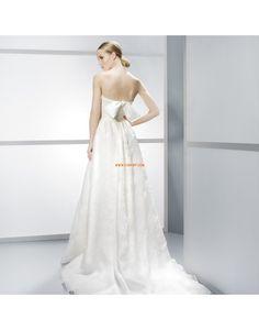 A-linje Golvlång Applikation Billiga Bröllopsklänningar