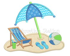 Beach Chair Umbrella Scene Applique Machine by AppliquetionStation Machine Embroidery Quilts, Machine Embroidery Projects, Applique Embroidery Designs, Machine Applique, Free Machine Embroidery Designs, Applique Patterns, Sewing Appliques, Embroidery Files, Small Quilts