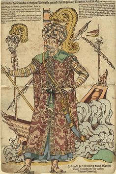 Müezzinzade Ali Pasha, the commander of the Ottoman fleet at Lepanto. He was killed in action during the battle when boarded. As depicted here, he was then beheaded to have his head placed on a pike. This German language paper printed after the battle heralds his death, as well as the liberation of approximately 15,000 of the Christian galley-slaves that the Ottomans relied on to row their fleet. (Zentralbibliothek Zürich)