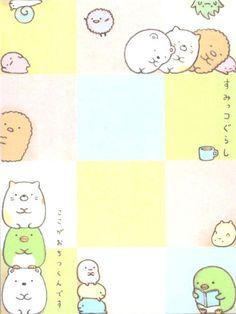 small cute San-X memo pad with shy bear, cat, penguin, snail, seaweed & pea