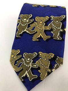 The Grateful Dead Dancing Bears Mens Blue 100% Silk First Set Neck Tie USA Made  | eBay
