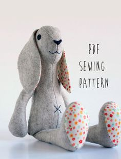 Sewing Crafts Toys Rabbit sewing pattern sew your own soft toy Bunny by CraftyKooka - You'll know how to reinforce a buttonhole, sew a pillowcase, and learn other handy stitches. Animal Sewing Patterns, Sewing Patterns Free, Free Sewing, Sewing Tutorials, Pattern Sewing, Softie Pattern, Free Pattern, Basic Sewing, Felt Patterns