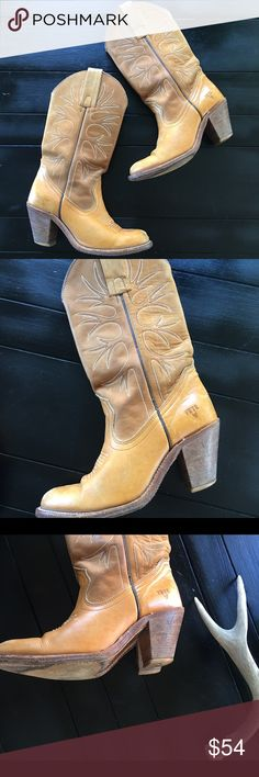 Vintage Frye cowboy boots Fantastic pair of vintage Frye heeled cowboy boots, not much wear other then some scuffing on the toes. The soles have lots of life left. Perfect for fall🍂🍁 Frye Shoes Heeled Boots