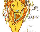 the lion knows he belongs. http://rachelawes.etsy.com $18.00