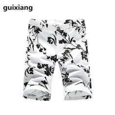 Casual Shorts el Barco 2017 High Quality Cotton Skull Print Summer Men Casual Shorts Knee-length Pocket Straight Soft Blue Red Male Trousers