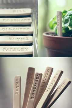 Garden Markers DIY Herb Markers would make a super cute gift for someone.DIY Herb Markers would make a super cute gift for someone. Herb Markers, Plant Markers, Pot Mason Diy, Mason Jar Crafts, Diy Clay, Clay Crafts, Tree Crafts, Wooden Crafts, Air Dry Modeling Clay