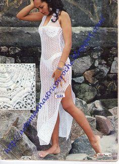 Art & Manhas Tricô e Crochê: Saída de praia branca... linda!!!