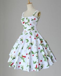 Maggie Tang Women's Cherry and Floral Print Vintage Rockabilly Dress: Women's Clothing: Fashion Stylish Dresses For Girls, Stylish Outfits, Casual Dresses, Short Dresses, Frock Fashion, Indian Fashion Dresses, Fashion Outfits, Gothic Fashion, Pretty Dresses