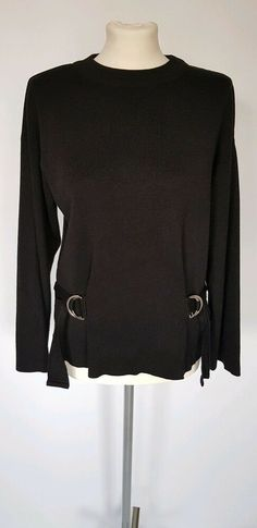 b40c2ee7 TOPSHOP Casual Black Jumper Size UK 10 Buckle Detailing Blogger Favourite  Fav