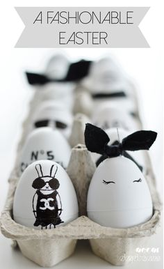 Louis Vuitton & Chanel inspired black & white designer easter eggs. Easter for fashionistas!