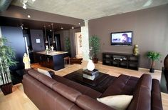 Dark brown leather couch / living room