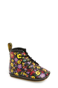 Dr. Martens Flower Print Leather Crib Bootie (Baby) available at #Nordstrom
