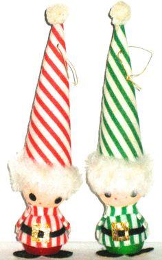 2 vintage Christmas decorations elf kids by sweetalicelovesyou