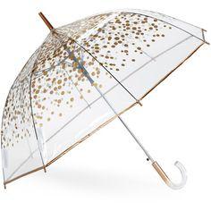 Shedrain Bubble Auto Stick Umbrella (40 BRL) found on Polyvore featuring women's fashion, accessories, umbrellas, umbrella, misc accessories, other, metallic, shedrain umbrella, see through umbrella and shedrain