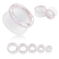 Jeweled White Resin Double Flare Saddle Ear Plug Body Piercing Earring FR151 | eBay