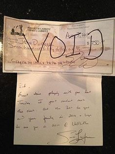 Jason Dufner is a class act for sure. He didn't cash the check from a club pro who owed him from a match in a practice round of the PGA Championship week. That's not the classy part though... he sent a hand-written note with the voided check.