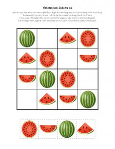 Watermelon Sudoku Puzzles {free printables} - Gift of Curiosity Sudoku Puzzles, Puzzles For Kids, Preschool Printables, Free Printables, Math Classroom Decorations, Body Preschool, Free Handwriting, English Worksheets For Kids, Critical Thinking Skills