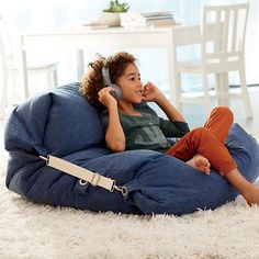 Shop Kids Blue Bean Bag Bed Chair It s a bean bag chair It s a floor cushion Wait it s both Our adjustable bean bag chair does double duty thanks to the unique design