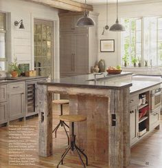 Barn beams for kitchen island for a rustic feel