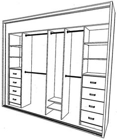 Built in wardrobe layout...this could work..change the front drawers to three so have one more shelf and do away with back drawers & shelves and lengthen the back top and bottom rods..sw