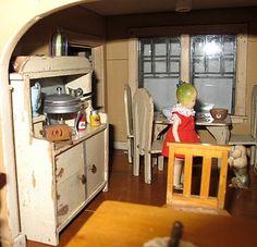 Vintage dolls, dollhouse kitchen