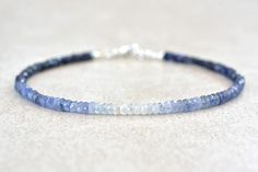 September Birthstone Bracelet, Ombre Sapphire Gemstone Bracelet, Natural Blue Sapphires, Bead Bracelet, Birthstone Bracelet, Christmas Gift This beautiful ombre sapphire bracelet is made with genuine natural sapphires. They range in color from a dark navy blue to almost white. This
