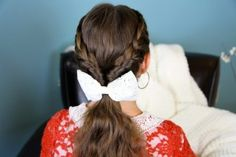 Lace Braid Twists into Ponytail   Hairstyles for Long Hair and more Hairstyles from CuteGirlsHairstyles.com