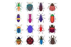 Insect bug icons set, cartoon style @creativework247
