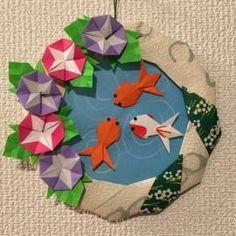 「夏祭り 飾り」の画像検索結果 Origami Cards, Origami And Kirigami, Paper Crafts Origami, Diy Paper, Origami Boxes, Origami Wreath, Origami Ball, Origami Flowers, Origami Instructions