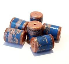 Blue and Copper Wood Grain Barrel Beads -  Paper and Polymer Clay by BarbiesBest on Etsy