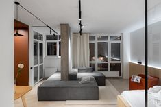 Modern apartment located in Kiev, Ukraine, designed in 2018 by PAINTIT. Studio Apartment Design, Studio Interior, Room Interior, Sala Grande, Small Apartments, Studio Apartments, Small Spaces, Interior Design Inspiration, Interior Architecture