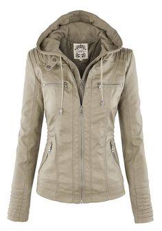 Apricot Plain Double Zipper Hooded Jacket