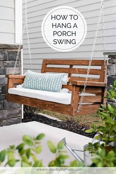 DIY Porch Swing Plans - Crafted by the Hunts - Modern Design Diy Swing, Wood Swing, How To Hang Porch Swing, Porch With Swing, Front Porch Swings, Outdoor Patio Swing, Swing Top, Gazebo, Pergola