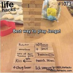 truth or dare JENGA: 1000 Life Hacks with silly things on them for the kids or funny would you rathers for our friends. Fun Games, Party Games, Party Party, Deco Gamer, Haha, 1000 Life Hacks, Silvester Party, Drinking Games, Drinking Jenga