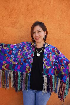 Maya Woman's Vintage Huipil Fringed Cape & Antique Coin-Trade Bead Chachal necklace from Guatemala
