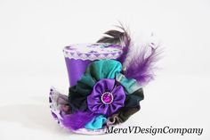 Mini Top Hat Purple Steampunk Hat Alice In by MeraVDesignCompany, $40.00