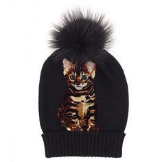 8d776ecdd3e27 Dolce   Gabbana Black Cashmere Cat Pompom Beanie (2