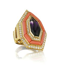Bulgari. An Amethyst, Coral, and Diamond Ring, 1970's