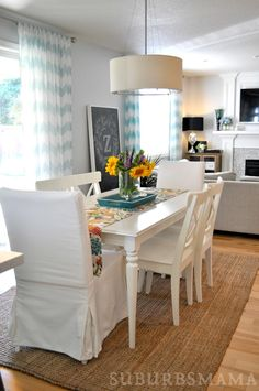 White Dining Room. Ikea dining table and chairs.