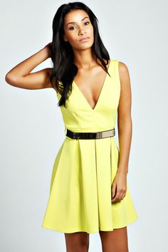 Talia Belted Plunge Neck Skater Dress #yellow