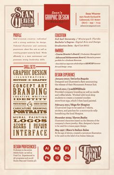 Designed Resume by Sean-David Weaver, via Behance